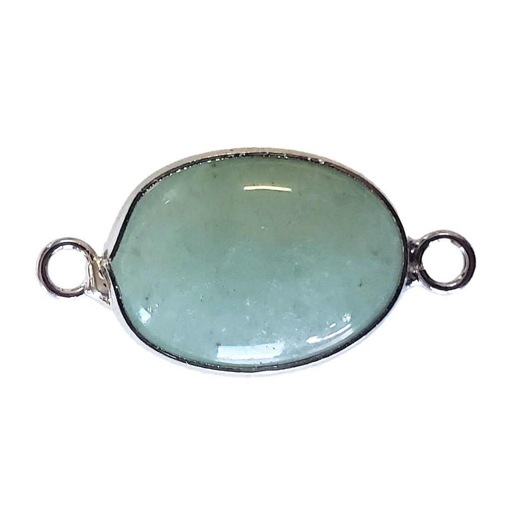 Green Aventurine Oval Double Loop Connector