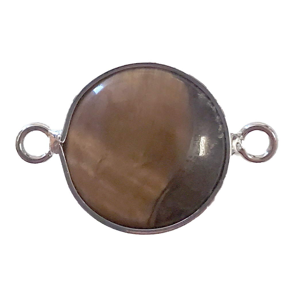 Tiger Eye Round Double Loop Connector