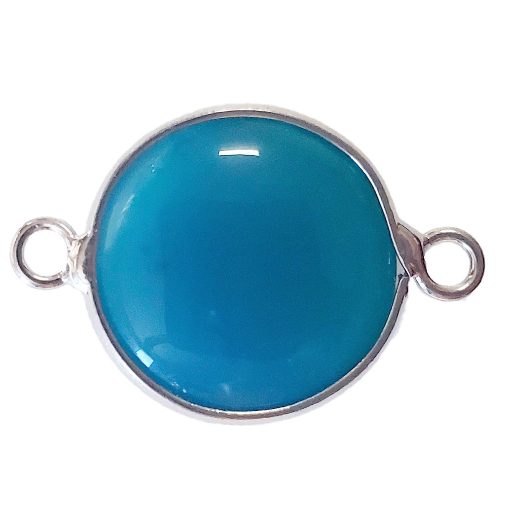 Blue Agate Round Double Loop Connector