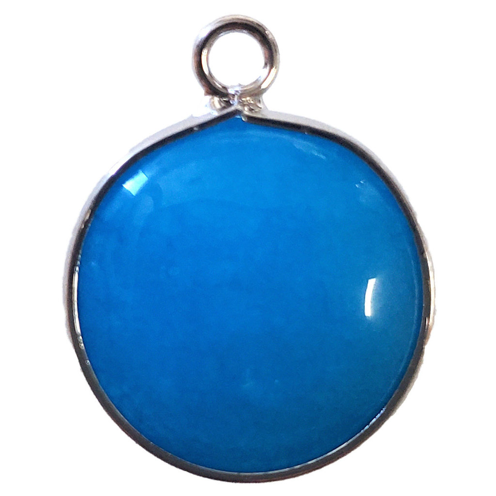 Blue Agate Round Single Loop Connector