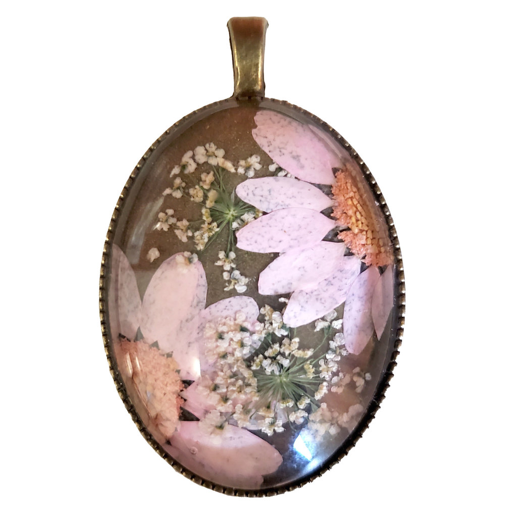 Dried Flower Pendant with Setting