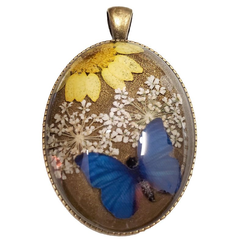 Dried Flower Pendant and Butterfly with Setting