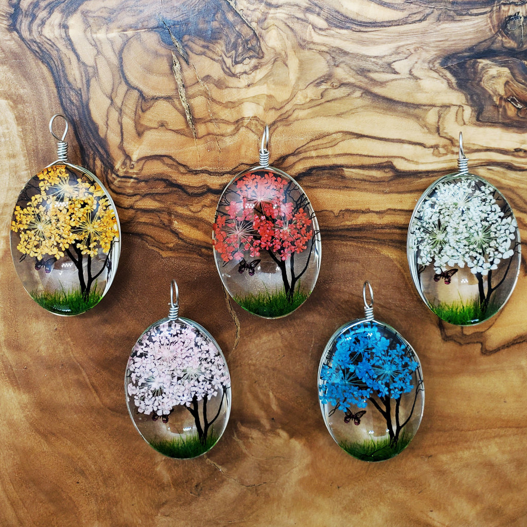 Medium Dried Flower with Butterfly Pendant