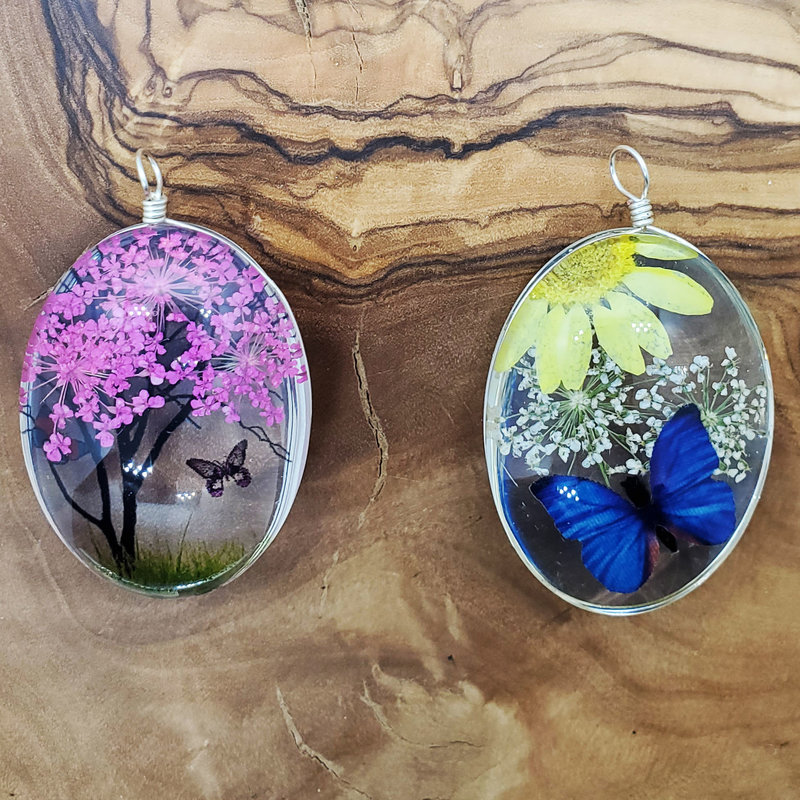 Large Dried Flower with Butterfly Pendant