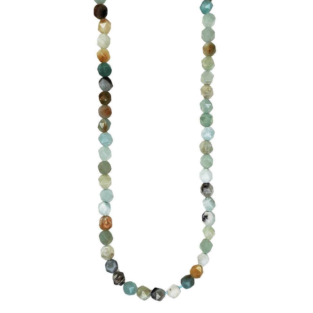 "Faceted Star Cut Amazonite 16"" Strand"