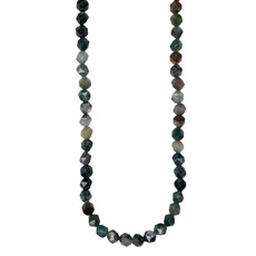 """Faceted Star Cut Indian Agate 16"""" Strand"""