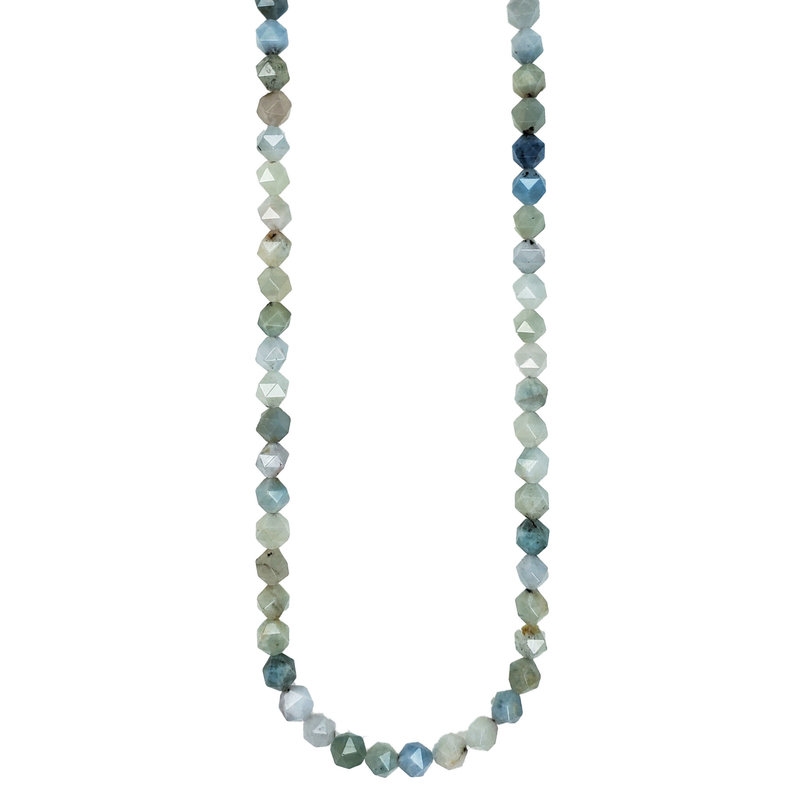 "Bead World Faceted Star Cut Mixed Aquamarine 16"" Strand"