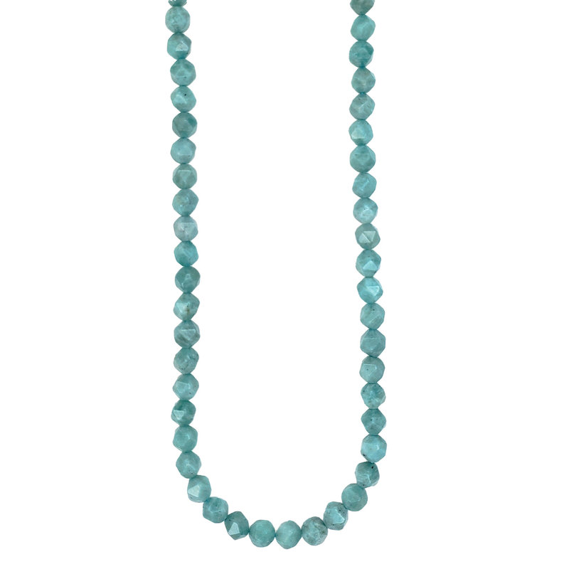 "Faceted Star Cut Green Amazonite 16"" Strand"