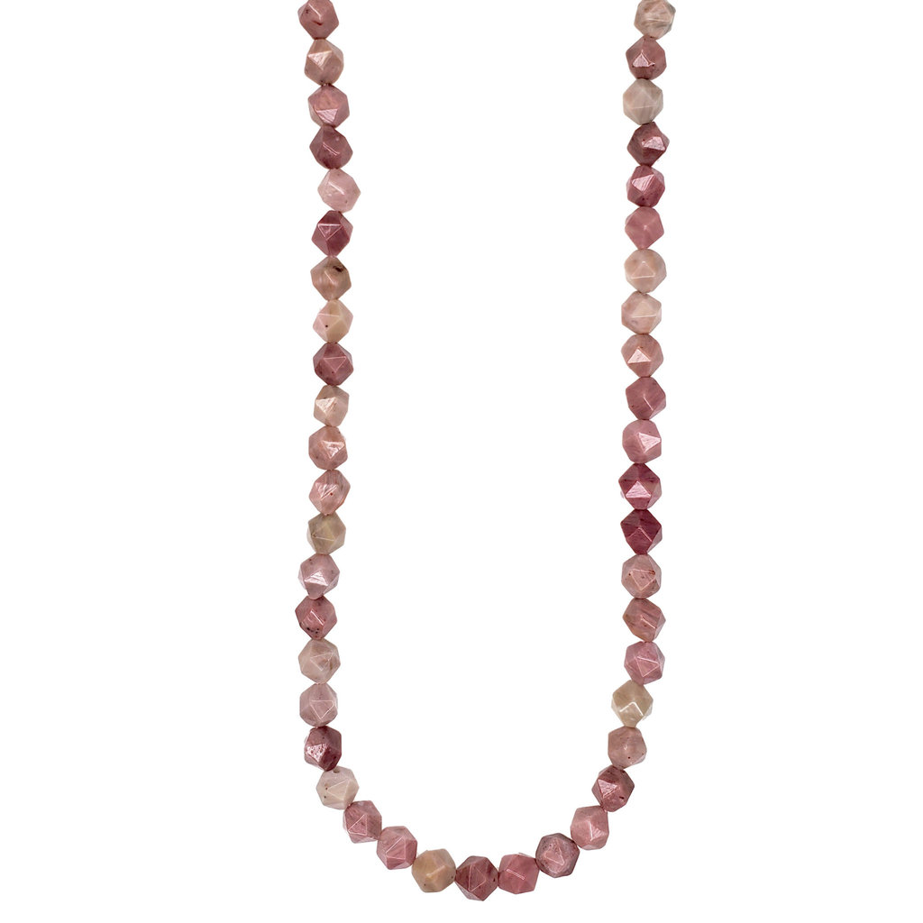 "Bead World Faceted Star Cut Pink Rhodonite 16"" Strand"