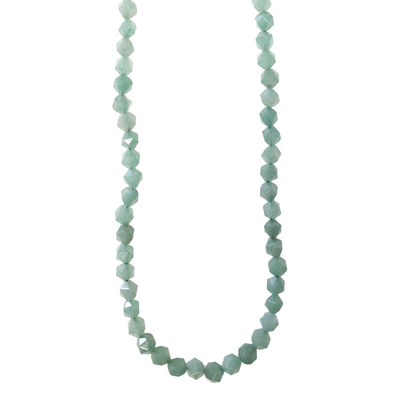 "Bead World Faceted Star Cut Jade 16"" Strand"