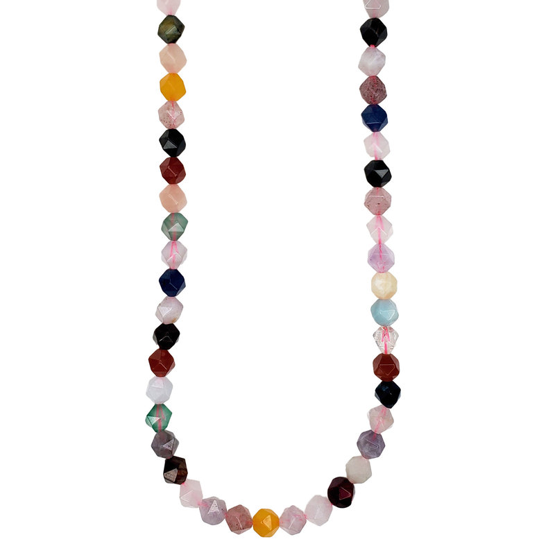 "Bead World Faceted Star Cut Mixed Stone 16"" Strand"