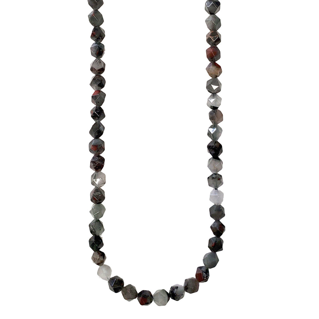 """Bead World Faceted Star Cut African Bloodstone 16"""" Strand"""