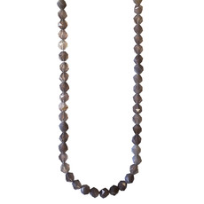 "Faceted Star Cut Grey Agate 16"" Strand"