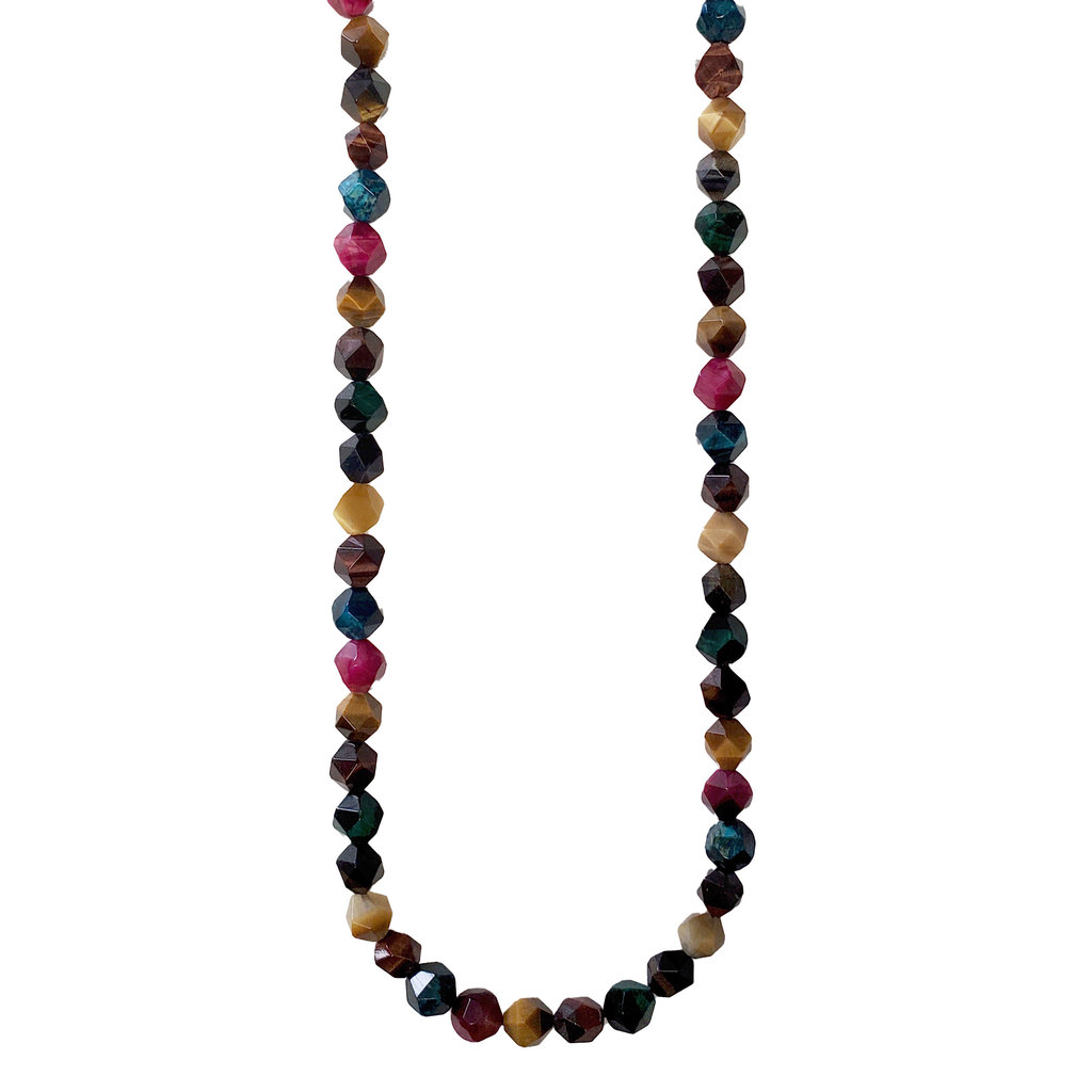 """Bead World Faceted Star Cut Mixed Color Tiger Eye 16"""" Strand"""