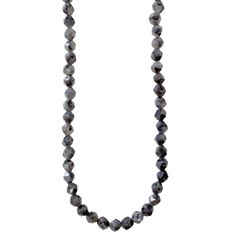 "Faceted Star Cut Grey Labradorite 16"" Strand"