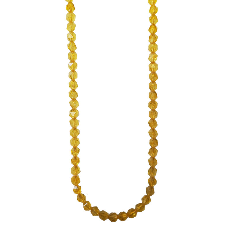 """Faceted Star Cut Citrine 16"""" Strand 8mm"""