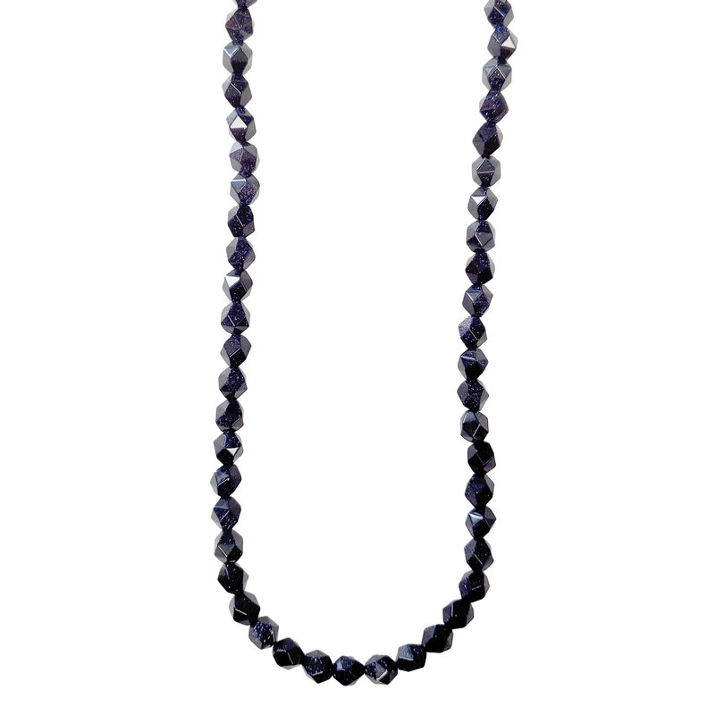 "Faceted Star Cut Blue Sandstone 16"" Strand"