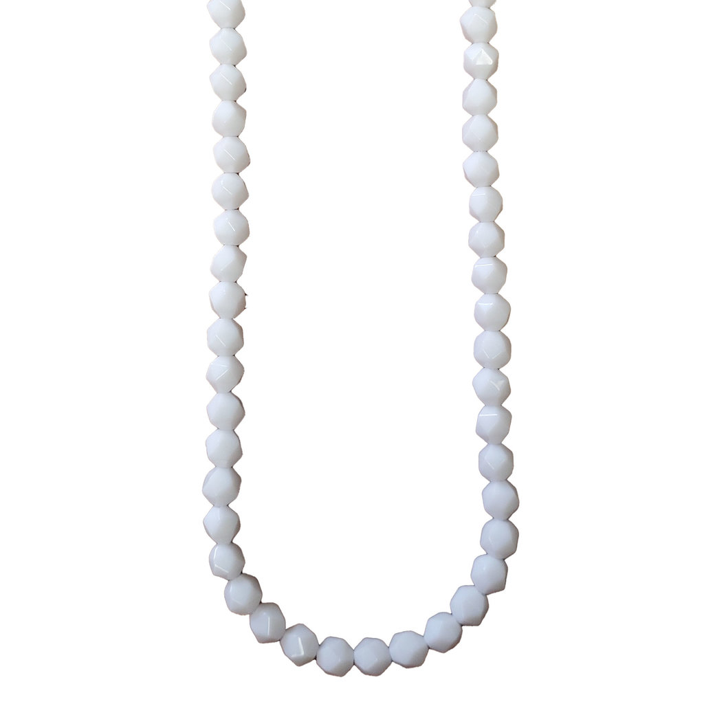 """Faceted Star Cut White Shell 16"""" Strand"""