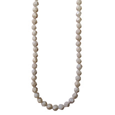 """Faceted Star Cut White African Opal 16"""" Strand"""