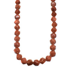 """Faceted Star Cut Goldstone 16"""" Strand"""