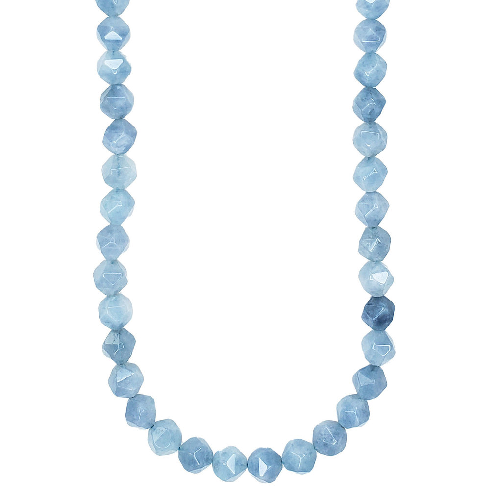 "Faceted Star Cut Blue Aquamarine 16"" Strand"