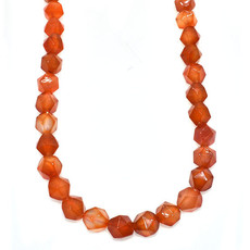 """Faceted Star Cut Carnelian 16"""" Strand"""