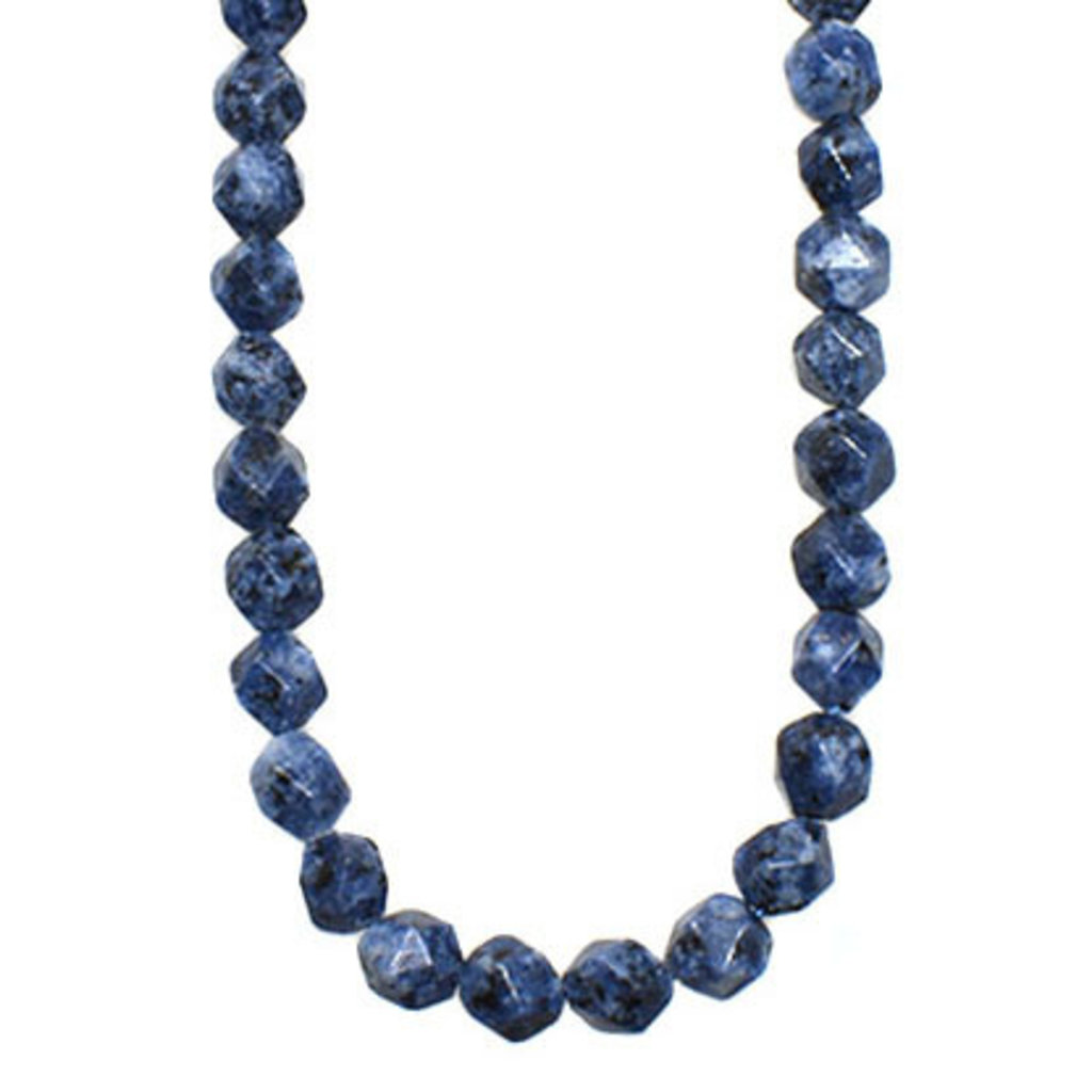 "Bead World Faceted Star Cut Blue Sesame Jasper 16"" Strand"