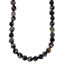 """Faceted Star Cut Blue Tiger Eye 16"""" Strand"""
