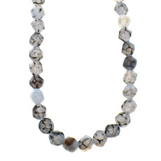 """Faceted Star Cut Cracked Agate 16"""" Strand"""