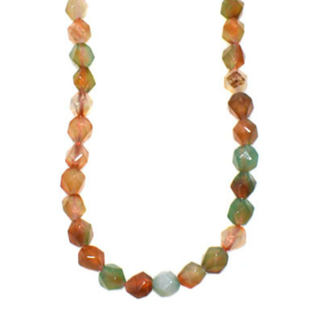 "Faceted Star Cut Light Mixed Agate 16"" Strand"