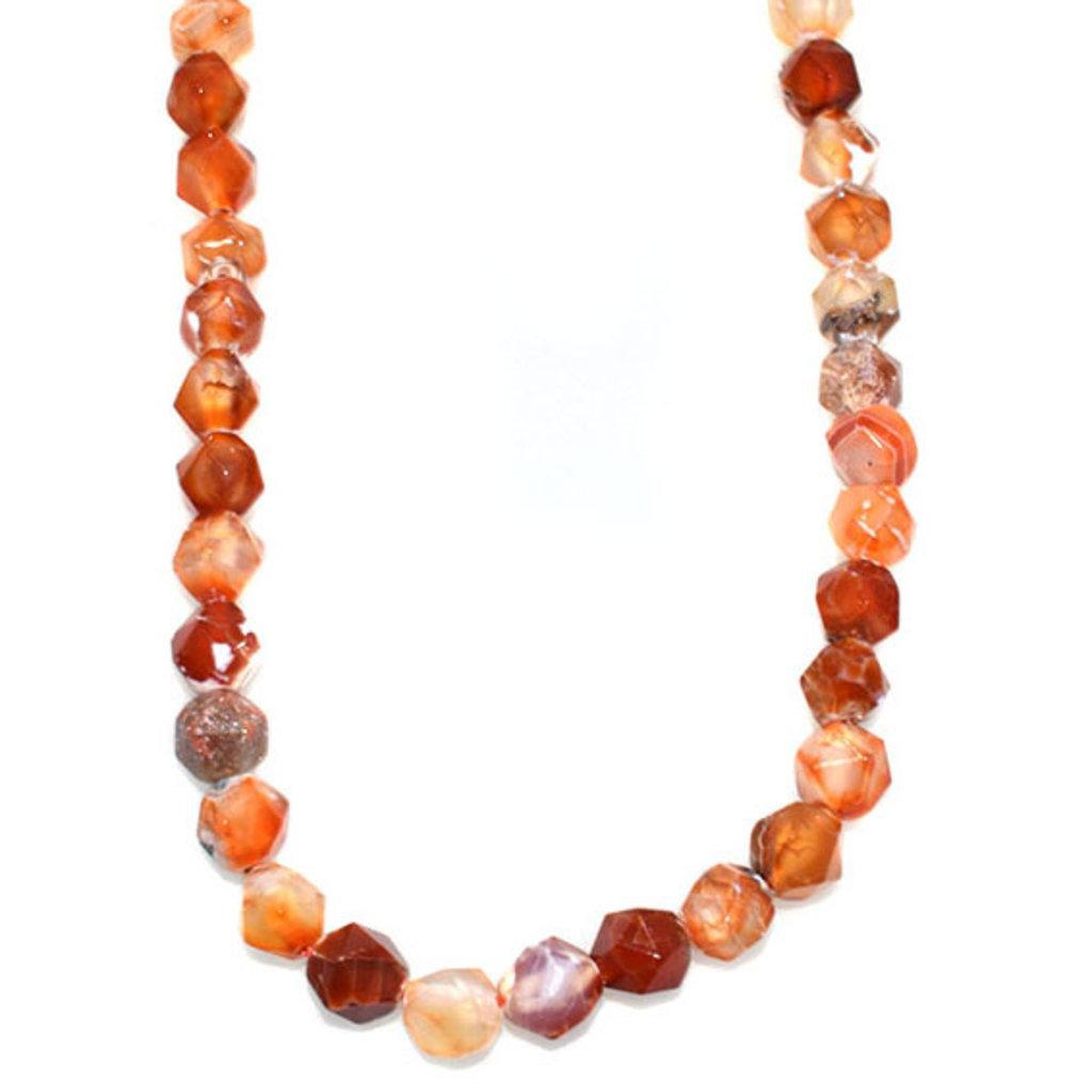 "Faceted Star Cut Red Orange Sardonix Agate 16"" Strand"