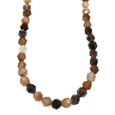 """Faceted Star Cut Black and Brown Agate 16"""" Strand"""