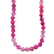 """Faceted Star Cut Pink Agate 16"""" Strand"""