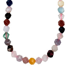 """Bead World Faceted Star Cut Mixed Stone 16"""" Strand"""
