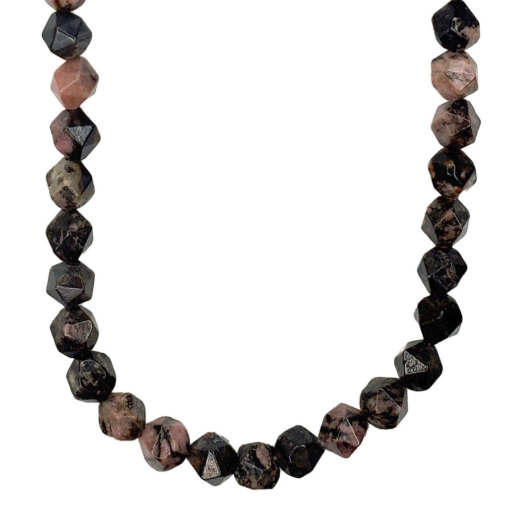 """Bead World Faceted Star Cut Rhodonite 16"""" Strand"""