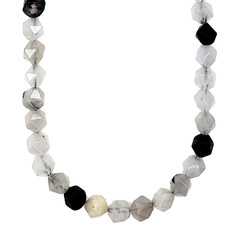 """Bead World Faceted Star Cut Black Rutilated Agate 16"""" Strand"""