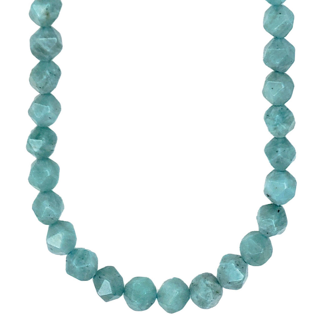 """Faceted Star Cut Green Amazonite 16"""" Strand"""