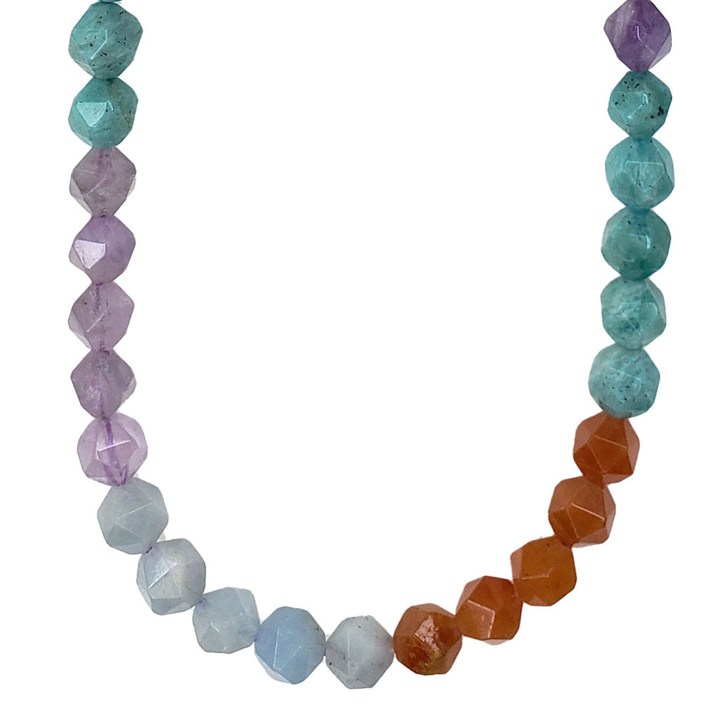 """Bead World Faceted Star Cut Mixed Amazonite 16"""" Strand"""