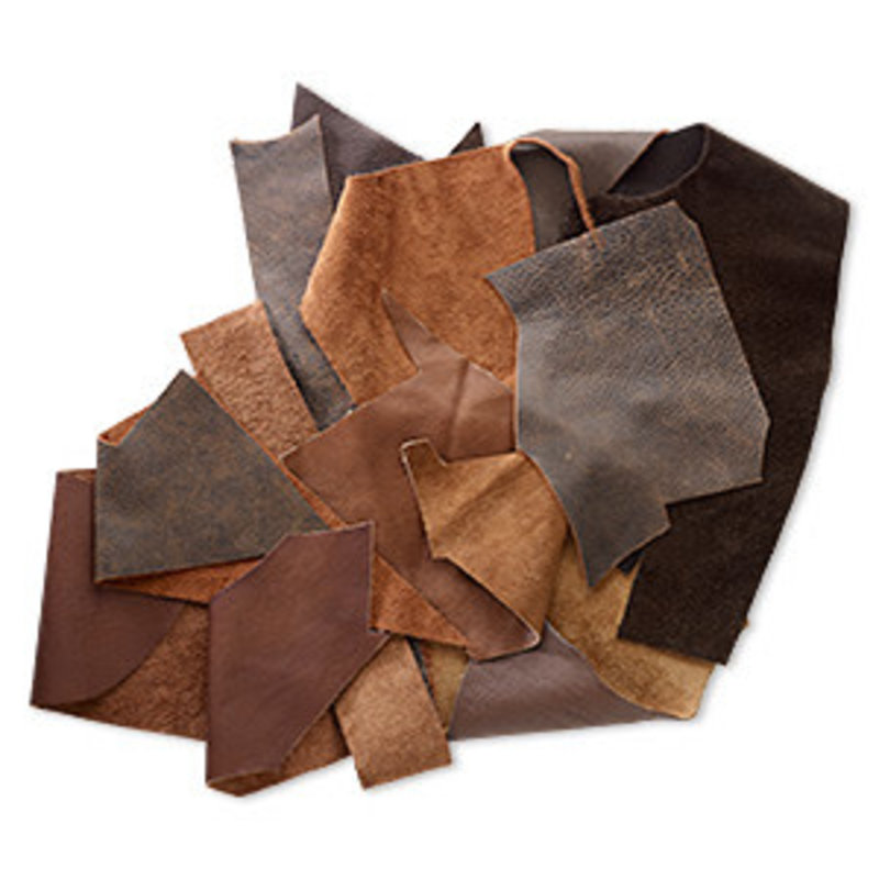 Mix Leather Scrap Brown 50gms