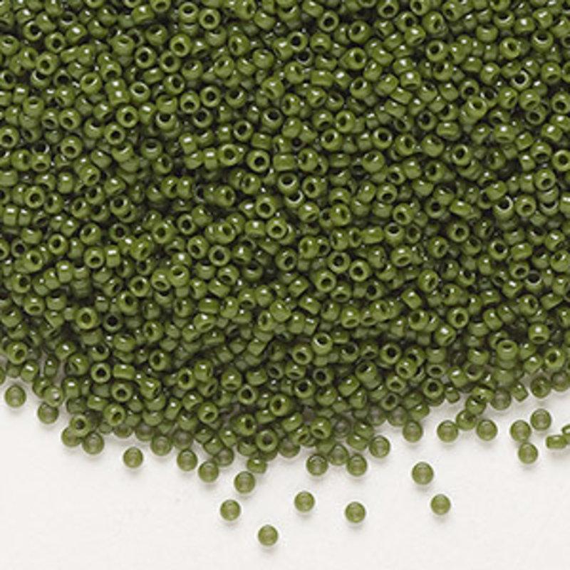 Miyuki #15 Rocaille Seed Bead Opaque Avocado 35 Grams