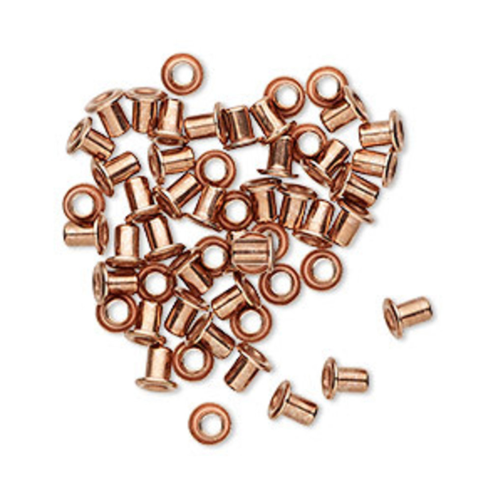 Copper Plated Brass Eyelets 3.5mm 50pcs