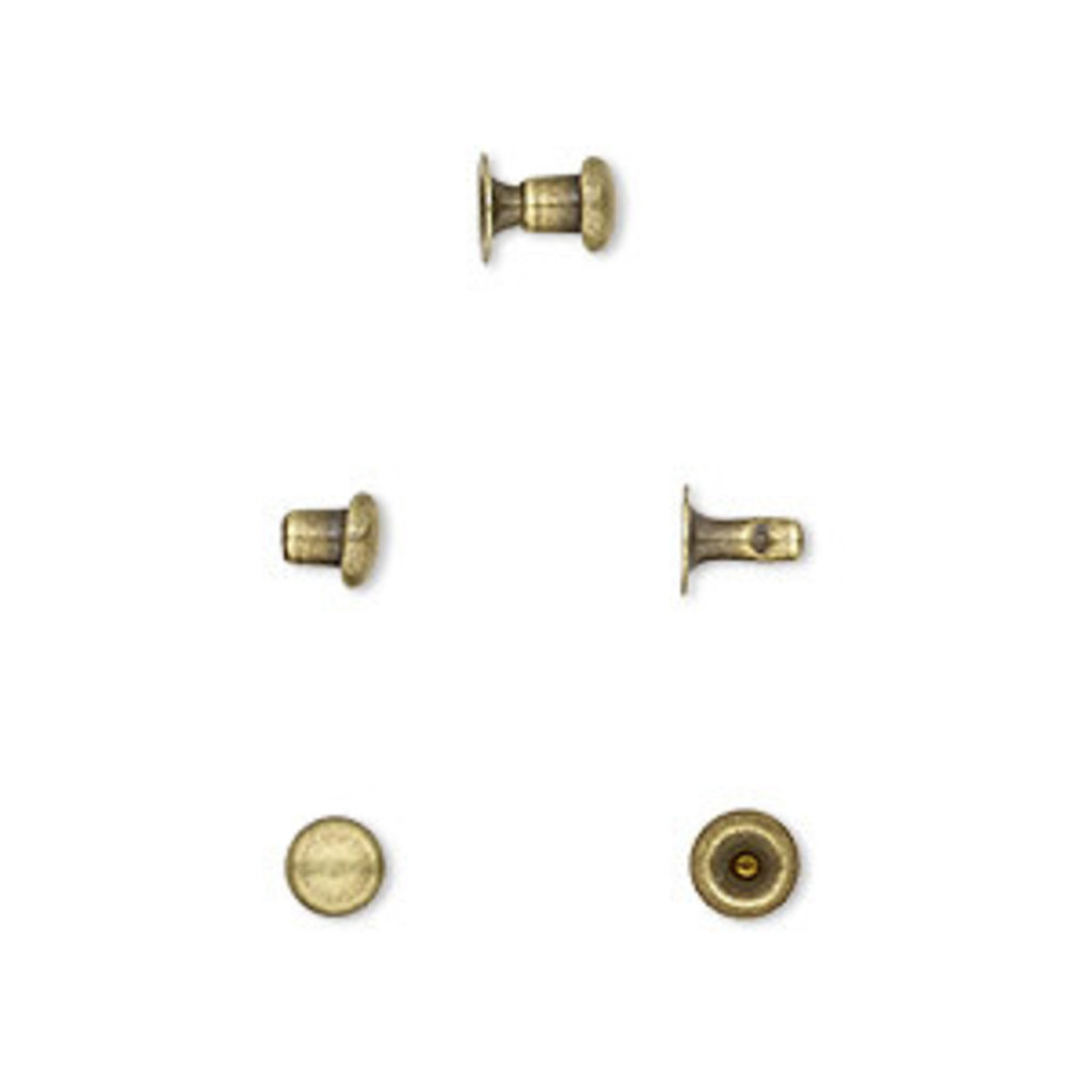 Antique Brass-Plated Brass Post and Head 5x4.5mm 10prs.