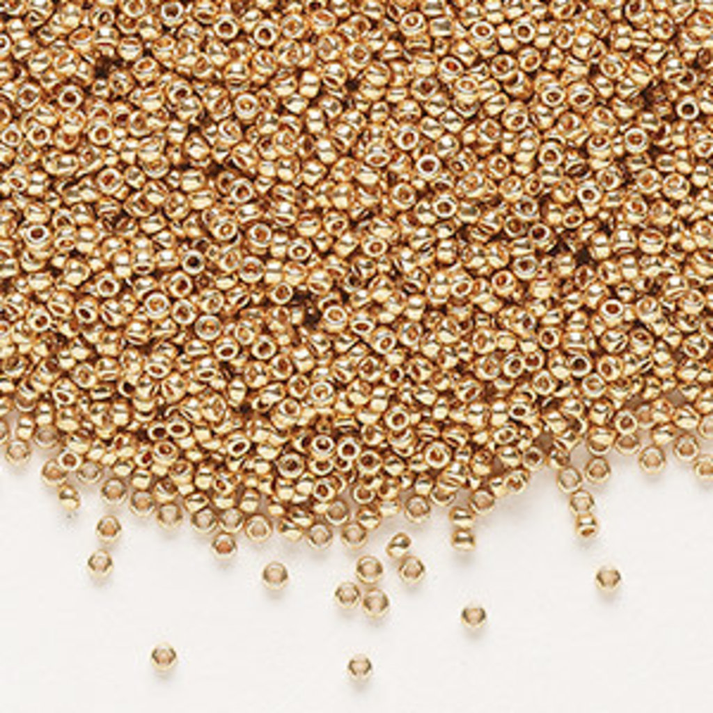 Miyuki #15 Rocaille Seed Bead Opaque Galvanized Yellow Gold 35 Grams
