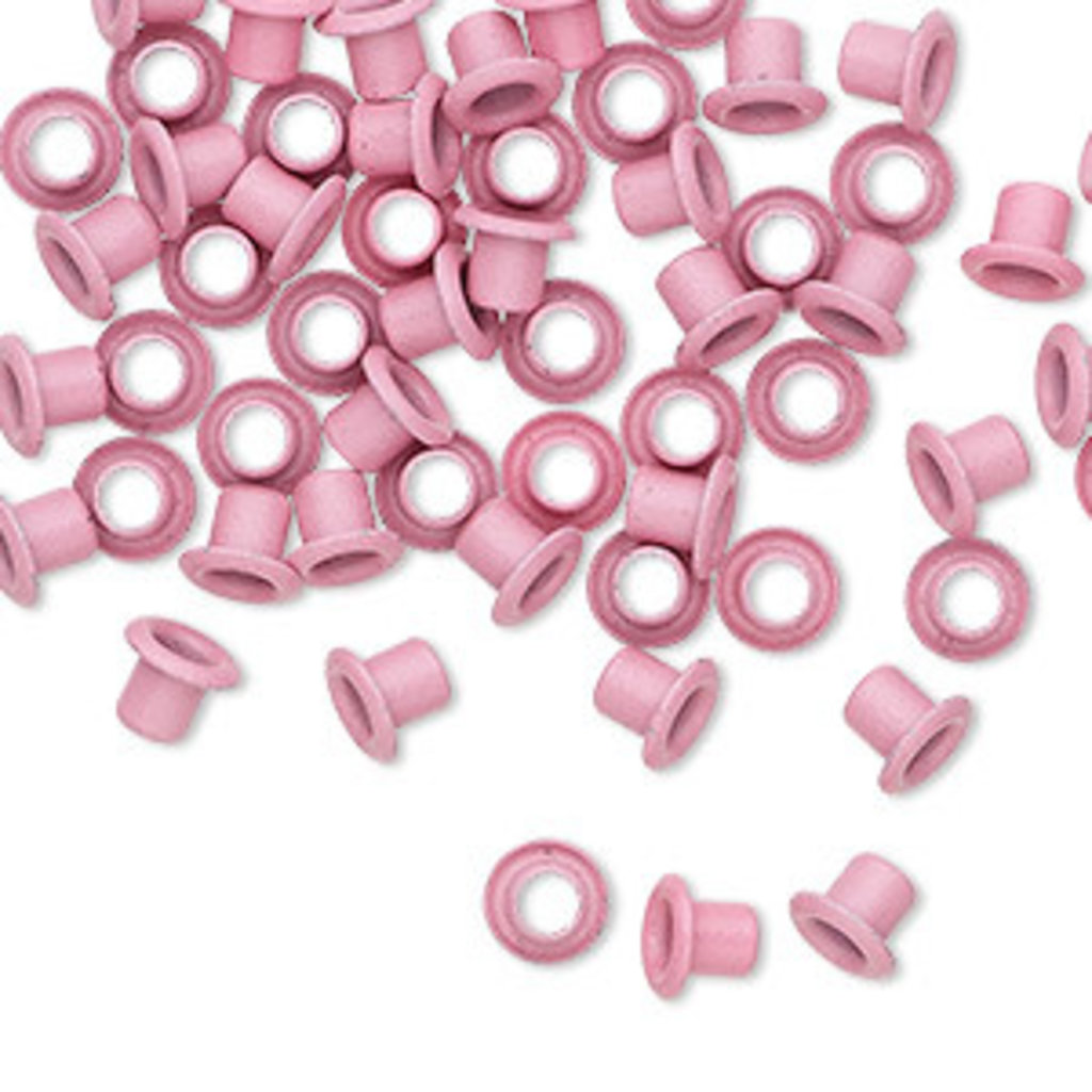 Pink Brass Eyelets 5x4mm 50pcs