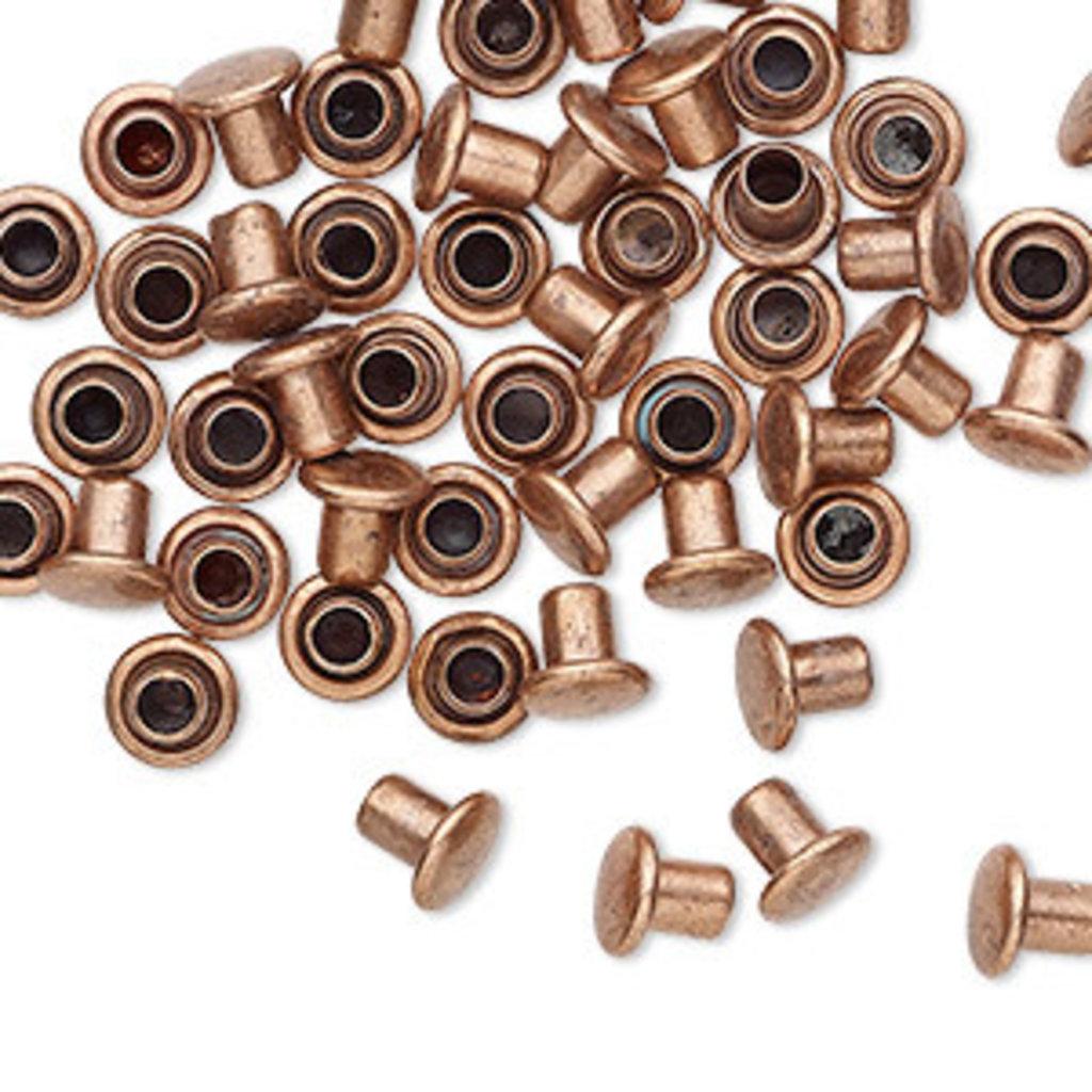 Copper-Plated Brass Rivet 5.5x5mm 50pcs