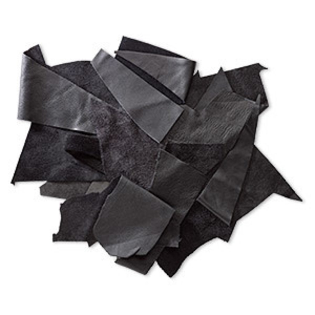 Mix Leather Scrap Black 50gms
