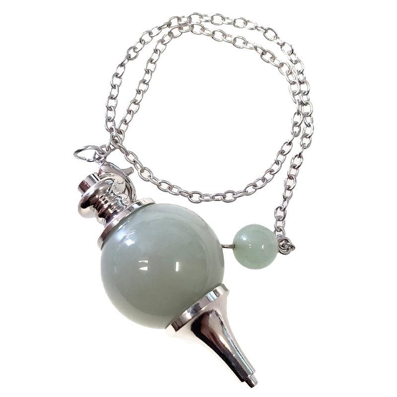Green Aventurine Round Pendulum with Chain 20mm