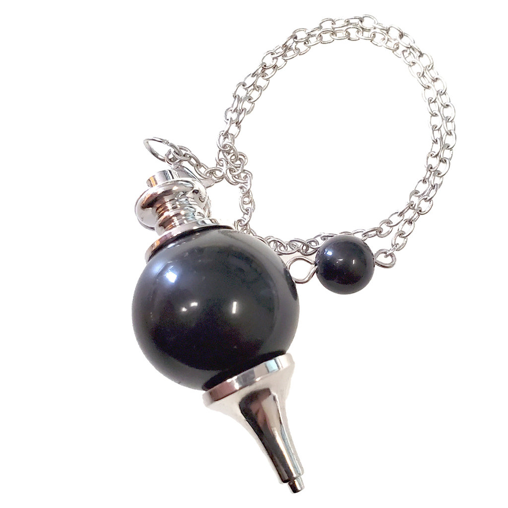 Black Onyx Round Pendulum with Chain 20mm