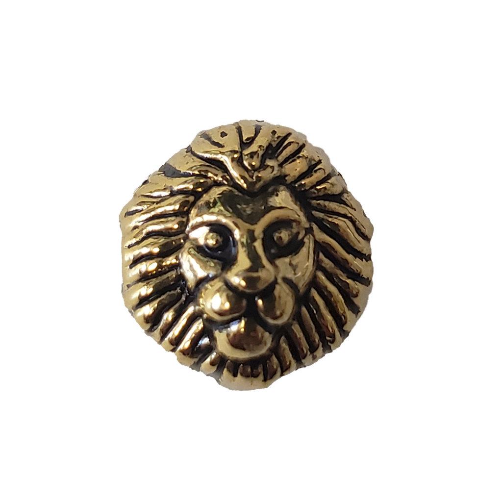 Gold Lion Head Charm 12mm