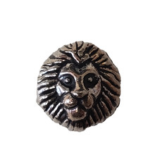 Rhodium Lion Head Charm 12mm